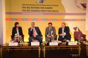 από αριστερά προς τα δεξιά: Ο Υπουργός Υγείας, κ. Μάκης Βορίδης, ο Διευθυντής και Επικεφαλής Γραφείου Αθηνών της Γενικής Διεύθυνσης Οικονομικών και Χρηματοδοτικών Υποθέσεων της Ευρωπαϊκής Επιτροπής, κ. Μαργαρίτης Σχοινάς, και ο Πρόεδρος της ΠΕΦ, κ. Δημήτρης Δέμος.